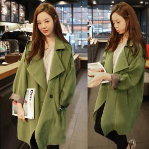 Army Green Loose Plus Size Trench Coat Womens Fashion Top WC009