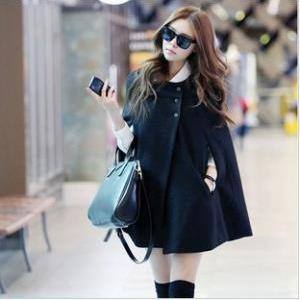 Black Poncho Cloak Cape Coat Wool Jacket WC080