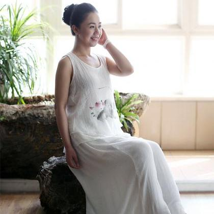 Elastic Waist White Cotton Wide Leg..