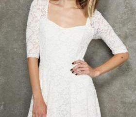 White Short Summer Lace Dress S M L SD010-1
