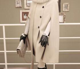 Designer Poncho Coat Jacket With Fur Collar Wool Cape Cloak Outerwear WC307