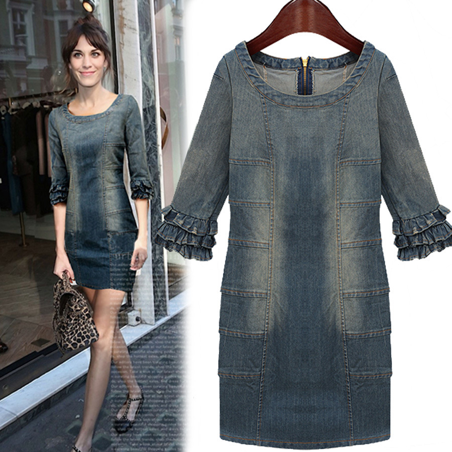Awesome  About Womens Blue Denim Sleeveless Dungaree Jean Pinafore Skirt Dress
