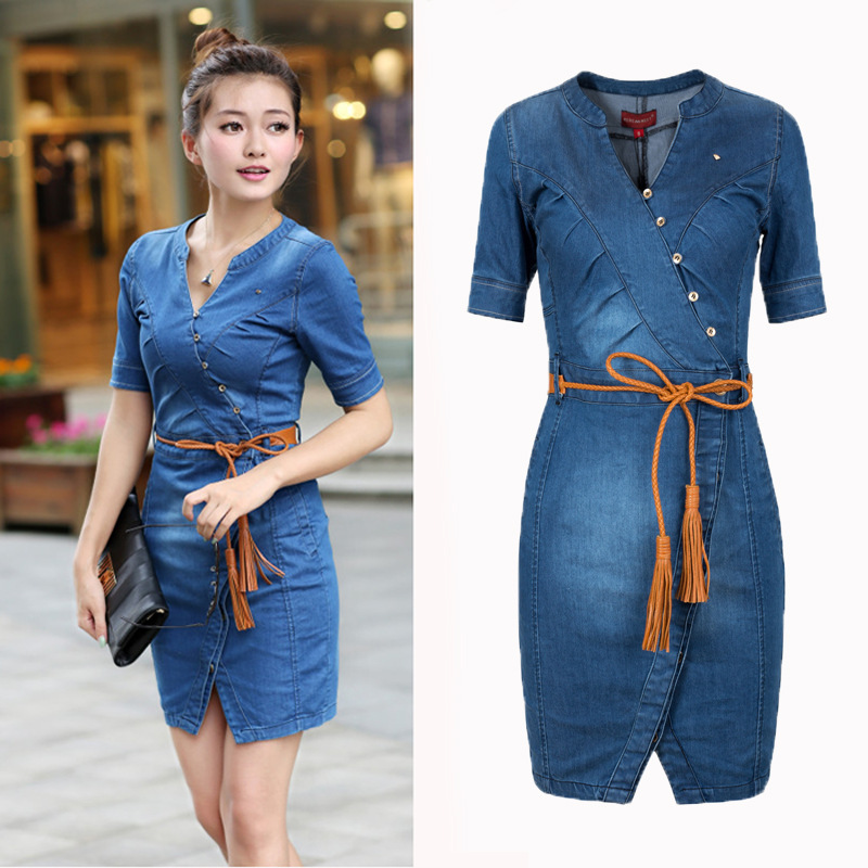 Plus Size Short Denim Dress Bodycon Summer Wear Blue Jean Clothes ...