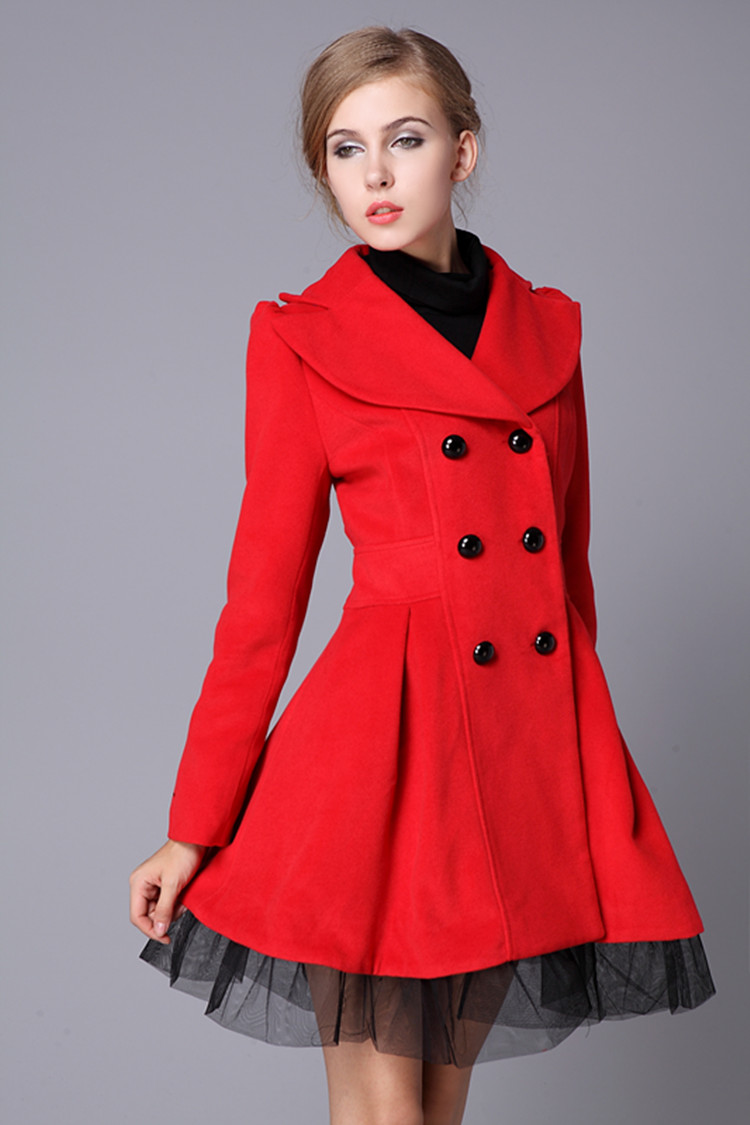 Red Swing Wool Coat Jacket Pea Coats Princess Outerwear Winter Top
