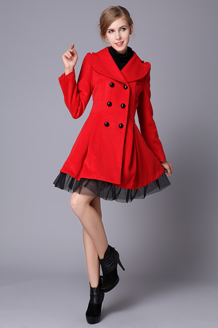 Red Swing Wool Coat Jacket Pea Coats Princess Outerwear Winter Top ...