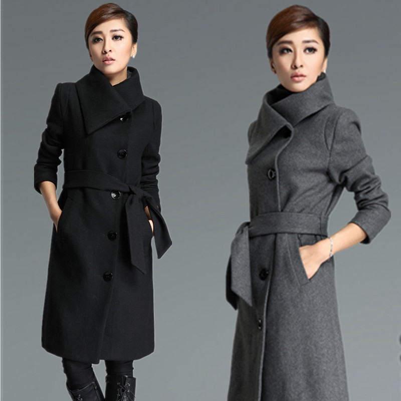 Tie Belt Long Wool Coat Trench Coat Wool Jacket Grey Black WC032 ...