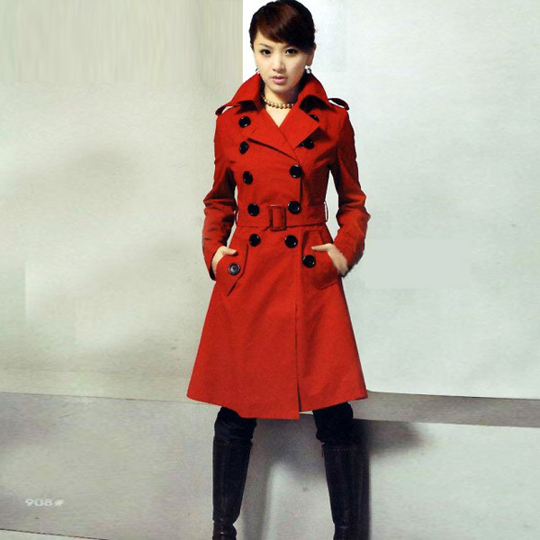 Double Breasted Cashmere Wool Trench Coat Long Jacket Overcoat ...
