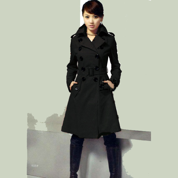 Double Breasted Cashmere Wool Trench Coat Long Jacket Overcoat