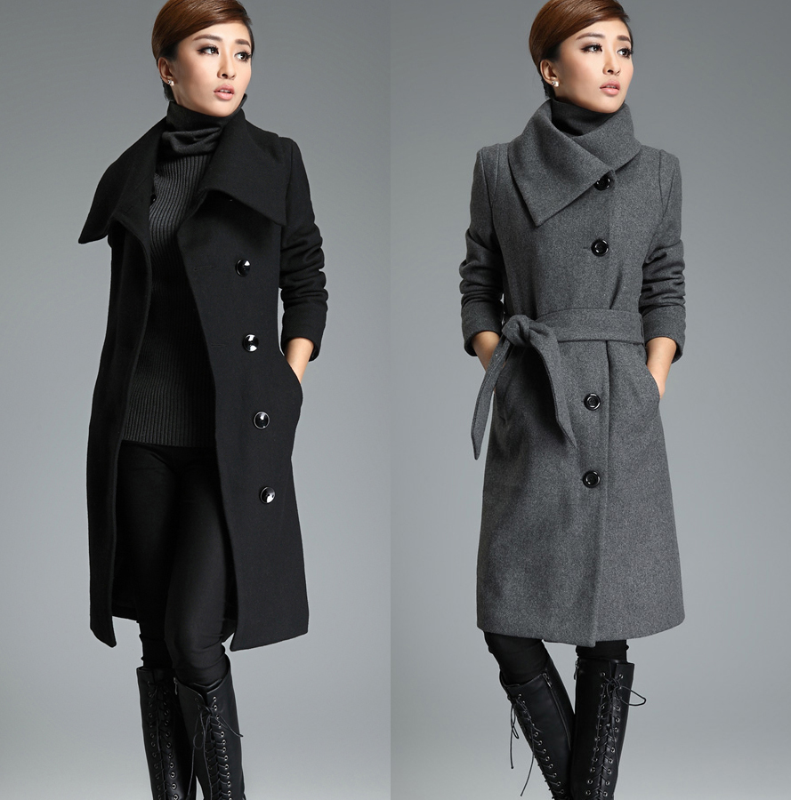 Gray Long Wool Trench Coat Tie Belt Lapel Winter Warm Thick Woolen ...