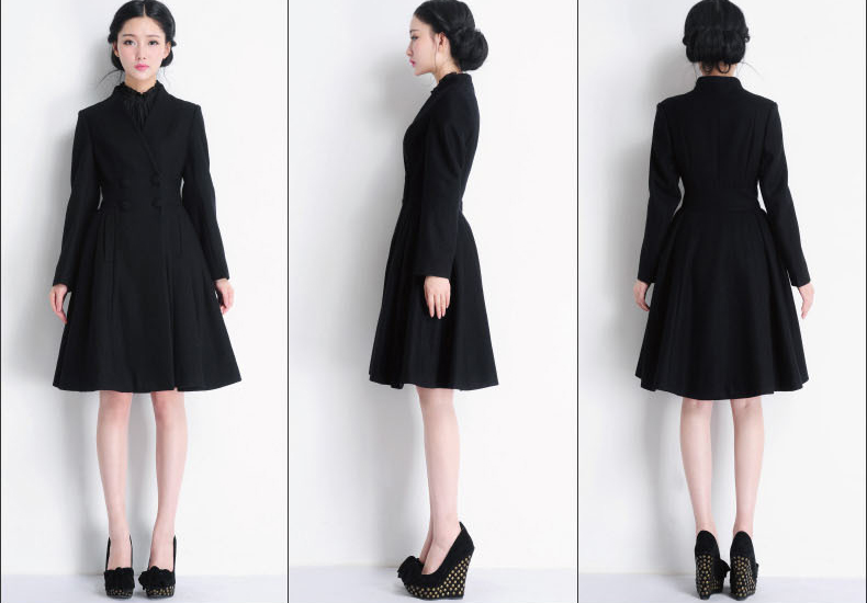 Images of Womens Wool Dress Coat - Reikian