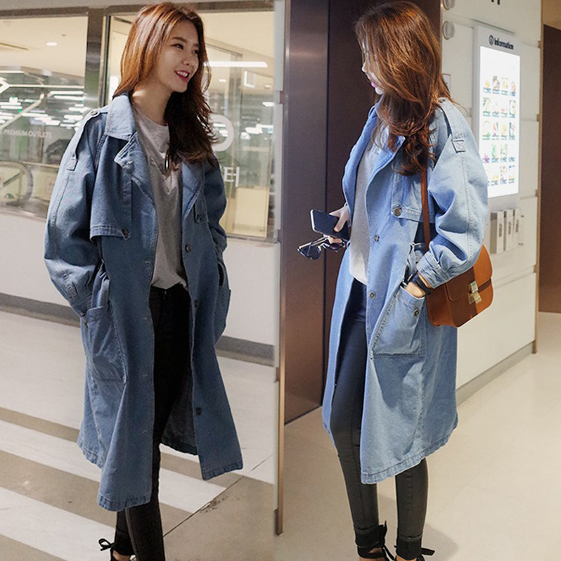 Light Blue Cowgirl Denim Coat Long Trench Coat Jacket For Women ...