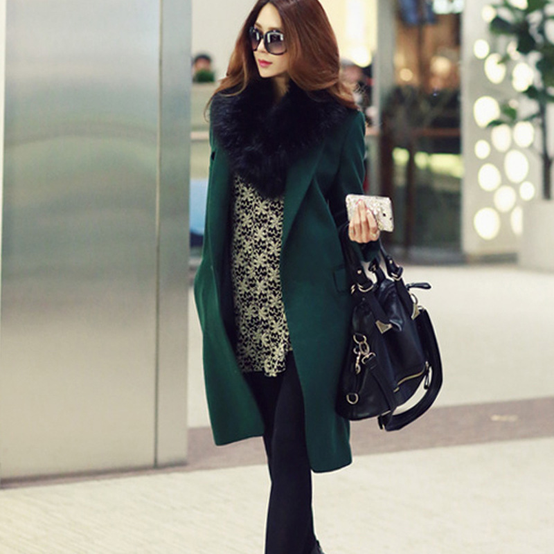 Green Wool Coat Jacket Women Winter Outerwear Black Style Overcoat ...