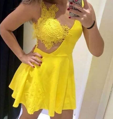 Sexy Crochet Lace Party Dress Women Mini Dress SD483