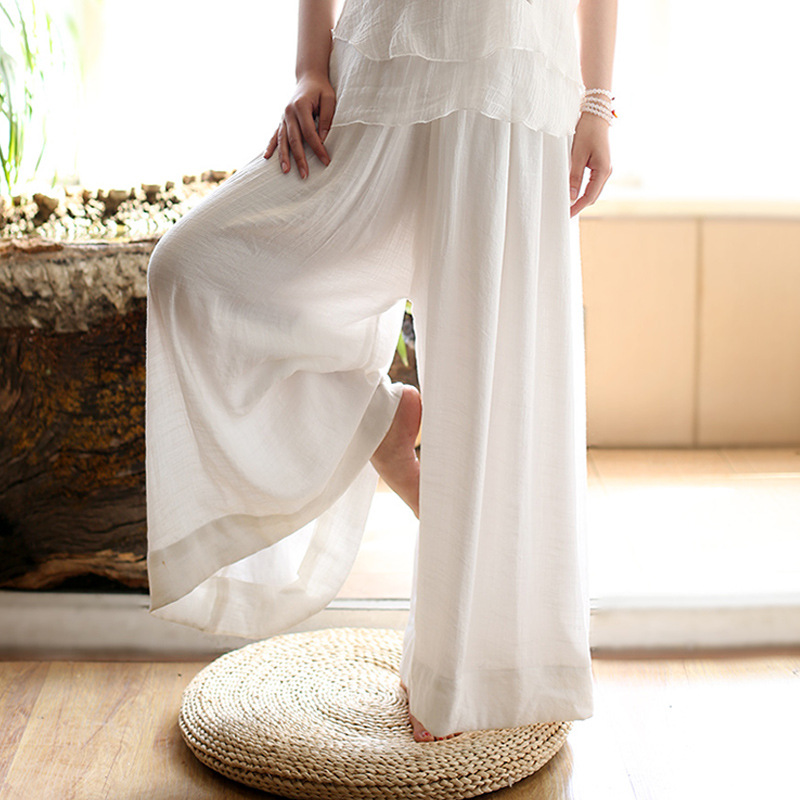 Elastic Waist White Cotton Wide Leg Pants Yoga Slacks Trousers