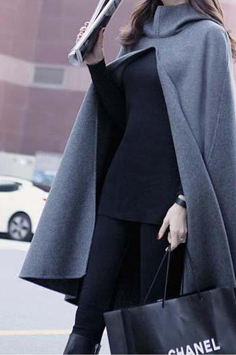 New Design Grey Hodded Autumn Winter Wool Poncho Cape Coat Jacket WJ335
