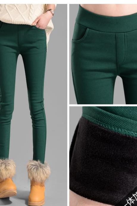 Emerald Thick Warm Winter Women Trouser Ladies Skinny Pencil Pants PL013-6