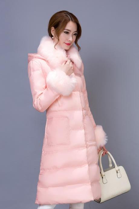 Pink Fur Collar Long Winter Duck Down Coat Jacket Winter Outwear WJ340-1