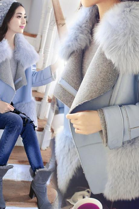 Blue Faux Fur Collar Leather Coat Women Winter Jacket WJ342