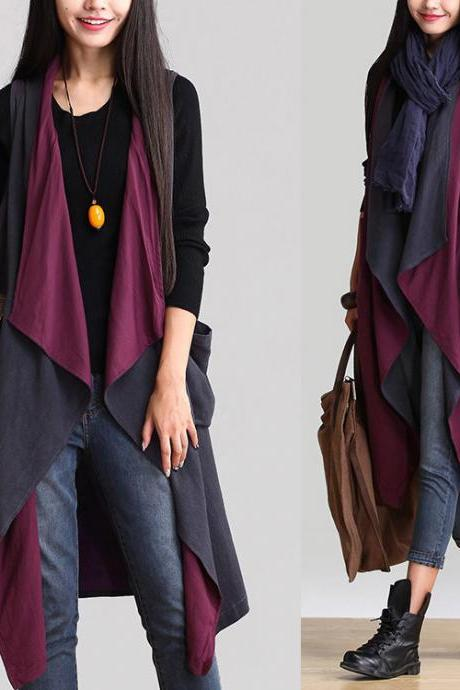 Asymmetric Cotton Linen Cardigan Long Cloak Vest Plus Size Coat Jacket For Women Spring Autumn Two Wear Ways WJ348