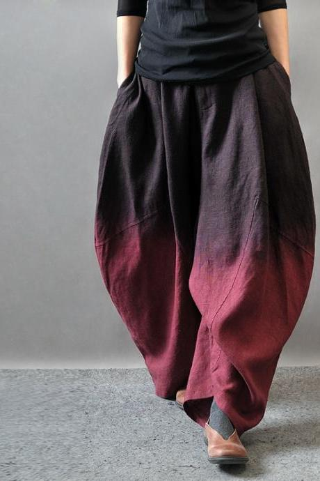 Asymmetric Pants Gradient Color Wide Leg Slacks Cotton Linen Loose Pants Harem Pants Women Trousers PL015