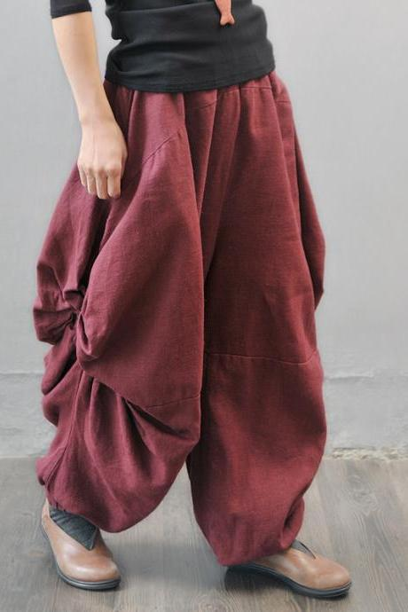 Red Ruffle Pants Long Linen Loose Trousers Unique Design Wide Leg Pants Elastic Waist Oversized PL016