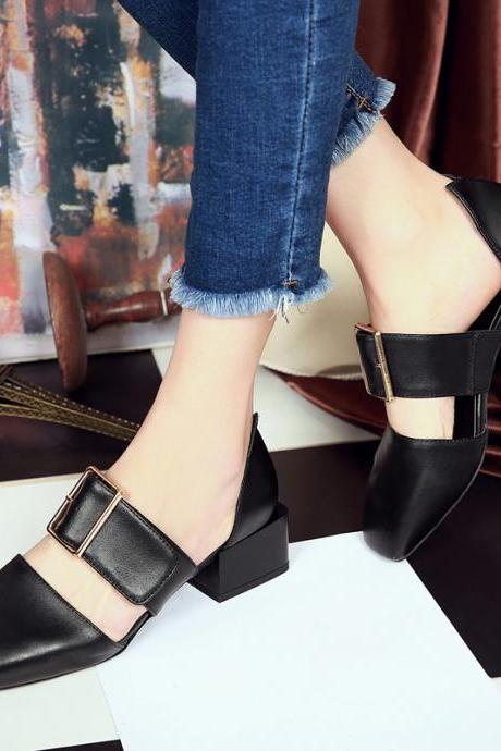 Leather Square-toe Buckle Low Chunky Heel