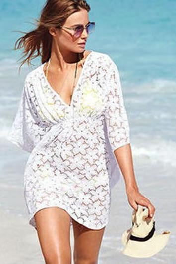 Women Deep V Neck Sexy Top Dress Vocation Beach Bikini Smock WJ351