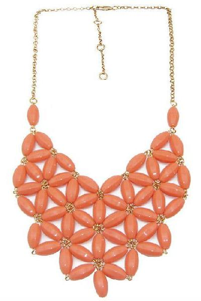 Acrylic Beaded Flower Collar Necklace Coral