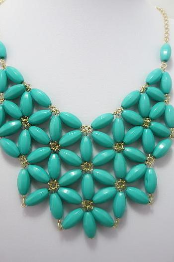 Turquoise Blue Beaded Statement Necklace