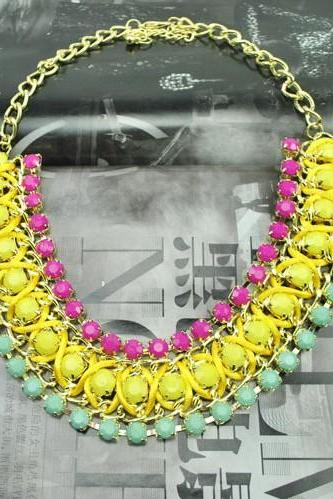 Yellow Bib Choker Necklace