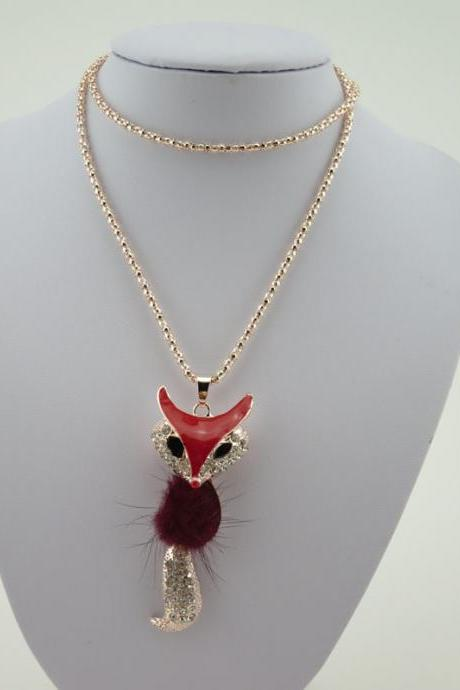 Animal Fox Sweater Chain Pendant Necklace