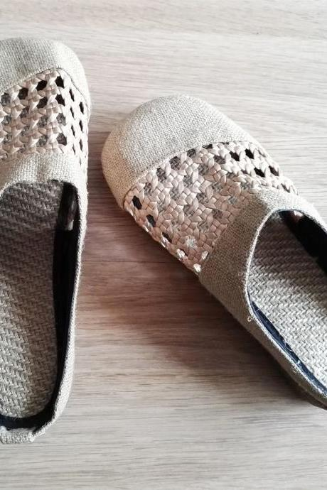Handmade Hollow Out Linen Slippers Shoes