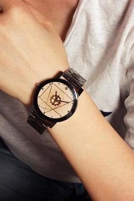 Fashion Unisex Compass Stainless Steel Band Watches