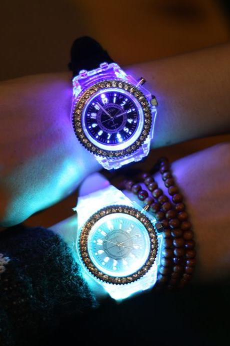 Outdoor Camping Night Luminous Led Noctilucence Jelly Crystal Watches