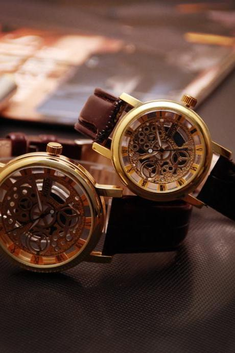 Waterproof Leather Hollow Out Mechanical Style Women Men's Watches