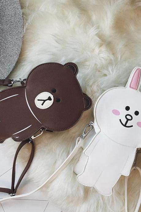 Funny Lovely Bear Bunny Shoulder Bags