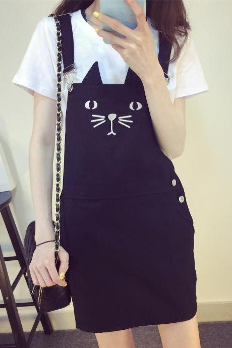 Cat Kitty Black Overall Dresses DR19
