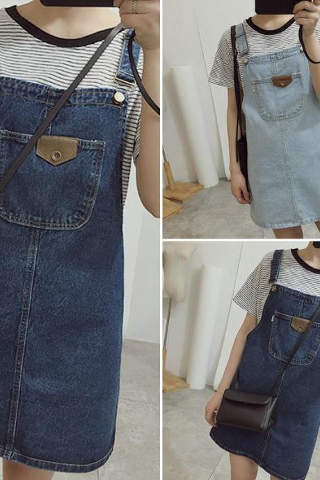 Classic Denim Overall Dress DR13