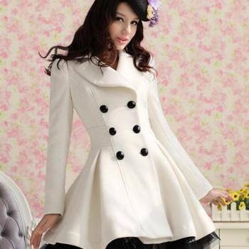Wool Dress Coats Women Double Breasted Peacoat Elegant Swing ...