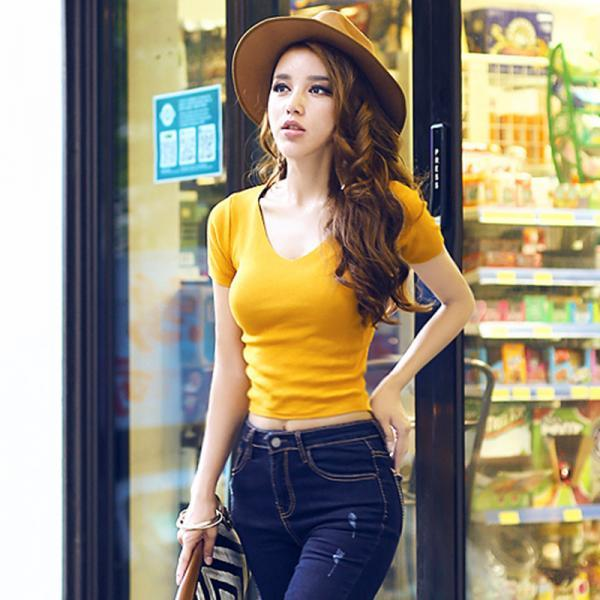 Short Sleeve Shirt, Hot Sexy Crop Top, Women Knitted Cotton t-shirt WJ345
