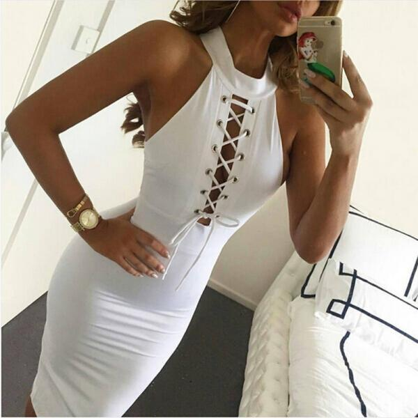 White Sexy Women Sleeveless Bodycon Dress Halter Bandage Dress SD482