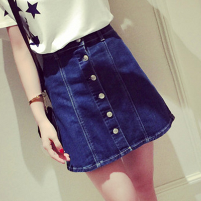 Button Up Blue Denim Skirts SK0062001