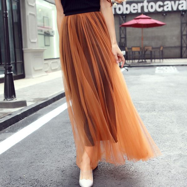 Girls Fashion High Waist Pleated Tulle Long Skirt