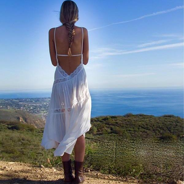 White Backless SPAGHETTI STRAP DRESS