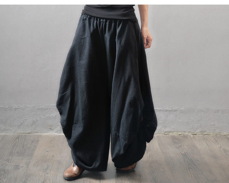 Amazing Black Harem Pants Side Ruffle Loose Pants Linen Wide Leg Pants Elastic Waist Trousers For Women ...